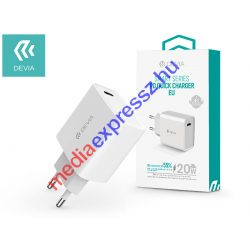 Devia hálózati töltő adapter Type-C bemenettel - 20W - Devia Smart Series PD3.0 Quick Charger - white